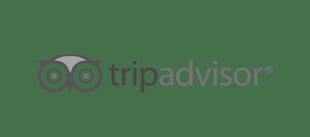 Greyscale TripAdvisor logo.