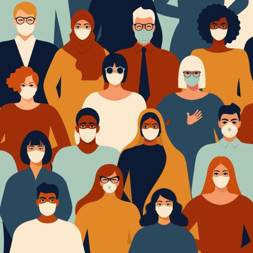illustration of people wearing face masks